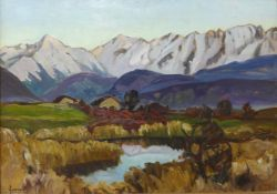 Joseph Victor Communal (French 1876-1962), Alpine landscape, oil on board, 45 x 64cms, framed