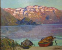 Joseph Victor Communal (French 1876-1962), au lac d'aiguebelette, oil on board, 48 x 59 cms, framed