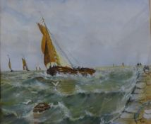 English School, marine landscape with boats in rough seas, watercolour, unsigned, 25 x 30cms, framed