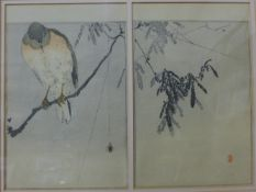 Watanabe Seitei (Japanese 1851-1918), two colour woodblock prints framed as one, each 23 x 15cms