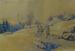 Polish School, rural winter landscape with figures on path, watercolour and gouache, indistinctly