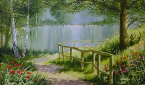 Terry Harrison, Path Beside The Lake, watercolour, 29 x 48cms, framed