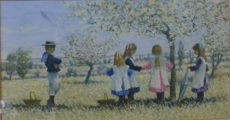 James H. Tyther, summer landscape with children in an orchard, pastel, unsigned, 20 x 38cms, framed