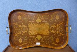 A Victorian mahogany and satinwood marquetry inlaid serving tray, 41 x 62cms
