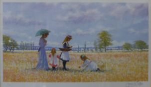 A pair of signed James H. Tyther limited edition prints, pair of summer landscapes with figures,