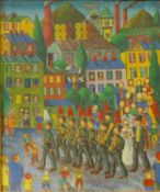 Leopold Wrobel (Polish 1922-1985), town scene with military band