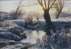 Peter Barker (b.1954), Dawn Frost By The Ford, oil on board, 14cms x 20cms, framed