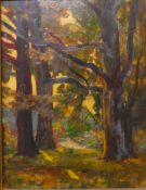 Joseph Victor Communal (French 1876-1962), forest landscape, oil on board, 34 x 25cms, framed