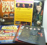 Pop music collection;- a collection of twelve programmes and one flyer, some signed including