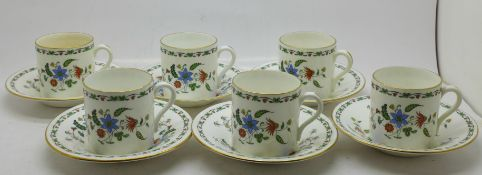 Six Shelley Chelsea coffee cups and saucers