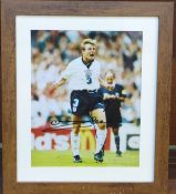A framed and signed photograph of Stuart Pearce, taken after his penalty at Euro '96, frame 29.5 x