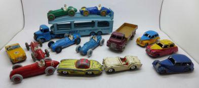 Twelve Dinky Toys model vehicles and two Corgi Toys model vehicles, 300SL and TR2 lacking windscreen