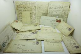 A collection of seventeen Georgian handwritten letters, plus Victorian postal history, penny reds,