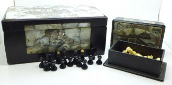 Two small mother of pearl inlaid boxes with assorted chess pieces, a/f, largest box 24cm wide