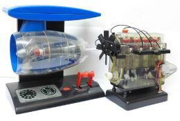 Two battery operated model engines, jet and combustion, a/f