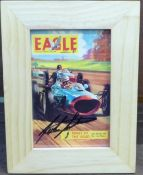 A small framed modern postcard featuring the cover of Eagle comic of December 1962, Kings of The