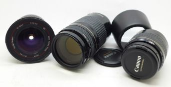 Three camera lenses;- two Canon lenses, a 35-80mm f4-5.6 with hood and a 75-30m f4.5.6 Ultrasonic