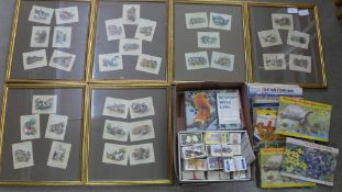 Six frames with a collection of Wills cigarette cards, twenty albums of Brooke Bond tea cards and