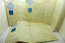 Two Queen Victoria signed Military Commission documents with seals dated 1861 and 1870, one