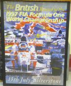 A large A1 framed colour poster for the 1997 British Grand Prix at Silverstone