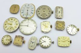 Lady's and gentleman's wristwatch movements including Omega, Universal, Jaeger-LeCoultre, Longines