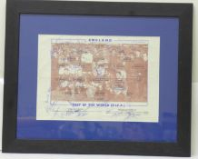 Football; England v Rest of World, 1963, with printed signatures, framed and mounted