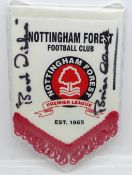A small Nottingham Forest pennant signed by Brian Clough