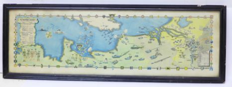 A print, 79th Armoured Division campaign, Northern France and Channel map, width 65cm