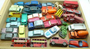 A collection of Matchbox Lesney model vehicles and three tin-plate model vehicles including one