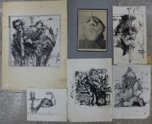 Wojciech Tuka (Polish), five mixed media surrealist studies, an abstract etching and four others