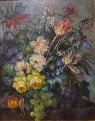 English School (early 20th Century), still life of flowers and fruit, oil on board, 49 x 39cms,
