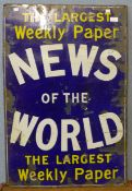 An enamelled News of the World sign, 92 x 61cms