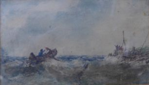 Edwin Hayes (1819-1904), boats in a stormy sea, watercolour, 12 x 21cms, framed