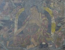 Chinese School, large portrait of Buddha, oil on canvas laid on board, 115 x 150cms, framed