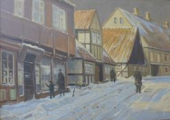 Danish School, winter town scene with figures, oil on canvas, indistinctly signed, 91 x 129cms,