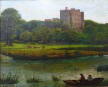 English School (19th Century), river landscape with fishermen and a castle in the distance, oil on
