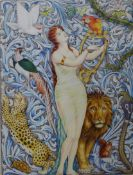 Gilbert Dodd (book illustrator), Pre-Raphaelite style portrait of a harpist amongst wildlife,