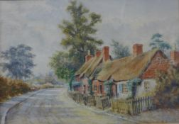 J. Knight, Fareham Brook and Old Cottages, Main Road, Wilford Village, watercolour, 24 x 35cms,
