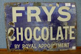 An enamelled Frys Chocolate sign, 33 x 48cms