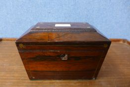 A George IV rosewood sarcophagus shaped tea caddy, 14cms h x 20cms w