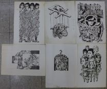 Ten assorted Polish School linocuts and etchings