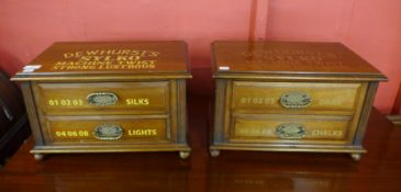 A pair of Victorian walnut counter top haberdashery shop chests, bearing Dewhurst Sylko inscription,