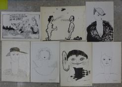 Polish School, thirteen assorted drawings/cartoons