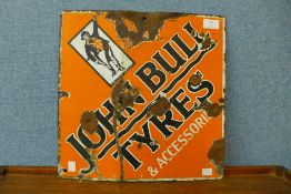 An enamelled John Bull Tyres sign, 38 x 38cms