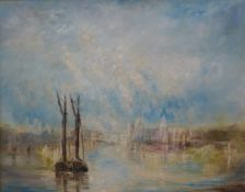* Brinton, Impressionist style Venetian landscape, oil on board, framed