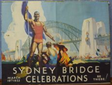 A D.S. Annand and A. Whitmore poster, Sydney Bridge Celebrations, March 19th, 1932, 45 x 59cms,
