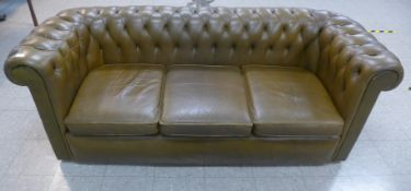 A Chesterfield olive green leather settee, 75cms h, 206cms w, 82cms d