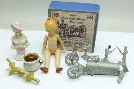 A box of Hinchliffe Models wargames metal figures, a miniature German doll, a half doll, metal