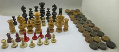 Chess and draughts pieces, incomplete sets
