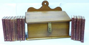 A collection of Works of William Shakespeare miniature books in an oak box, published by J.M. Dent &